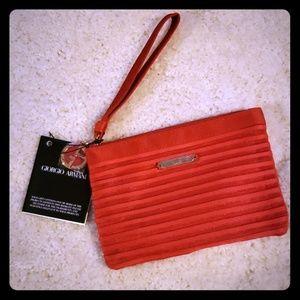 Giorgio Armani red wristlet beauty bag New